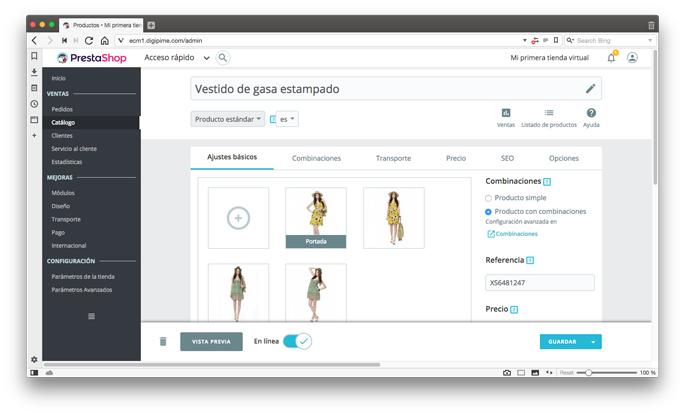Exemple d'edició d'un producte en una botiga virtual Prestashop