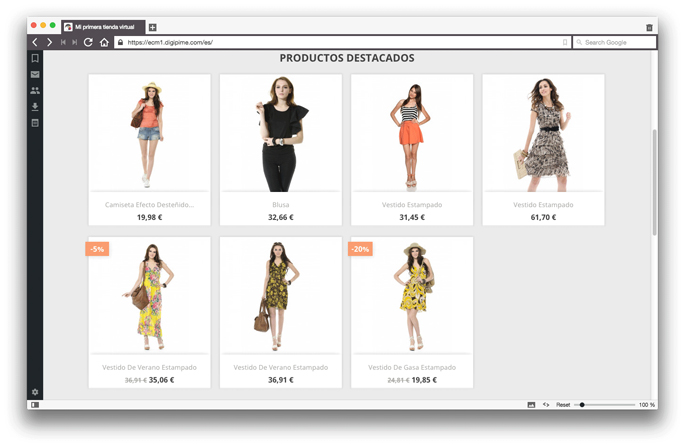 Exemple de productes destacats en una botiga virtual Prestashop