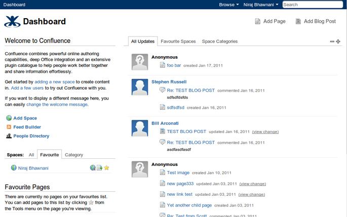 Ejemplo de acceso a una wiki corporativa con Confluence