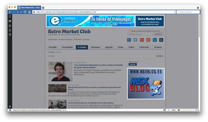 Periódico digital temático con banners publicitarios (destacados)