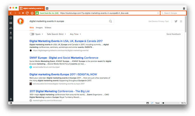 Resultados de búsqueda en DuckDuckGo, un buscador similar a Google